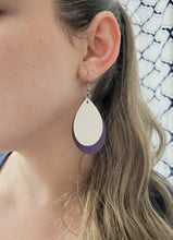 Load image into Gallery viewer, WHITE AND PURPLE FAUX LEATHER EARRINGS - TEARDROP