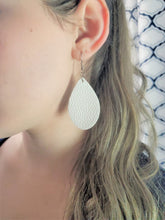 Load image into Gallery viewer, WHITE FAUX LEATHER EARRINGS - TEARDROP