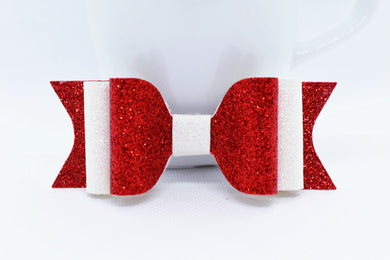 RED AND WHITE SHIMMER FAUX LEATHER BOW - Handmade Creations by Liz