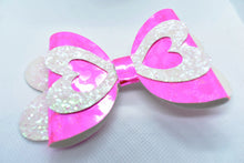 Load image into Gallery viewer, WHITE AND PINK GLITTER AND PINK SHINNY HEARTS FAUX LEATHER BOW - Handmade Creations by Liz