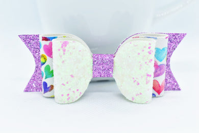 WHITE/PINK GLITTER, PURPLE SHIMMER WITH COLORFUL HEARTS FAUX LEATHER BOW - Handmade Creations by Liz