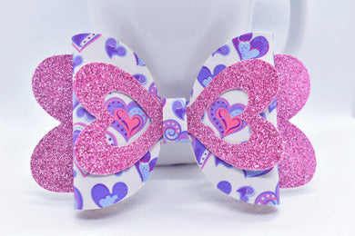 PINK SHIMMER AND PURPLE HEARTS FAUX LEATHER BOW - Handmade Creations by Liz
