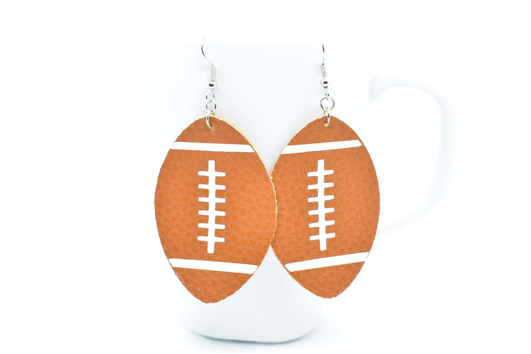 FAUX LEATHER EARRINGS - FOOTBALLS - Handmade Creations by Liz