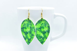 FAUX LEATHER EARRINGS - LUCKY CLOVERS - Handmade Creations by Liz