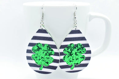 FAUX LEATHER EARRINGS - BLACK AND WHITE STRIPES AND GREEN GLITTER CLOVER - Handmade Creations by Liz