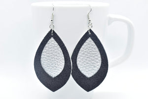 FAUX LEATHER EARRINGS - SILVER WITH BLACK SHIMMER BORDER - Handmade Creations by Liz