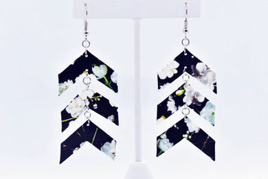 FAUX LEATHER EARRINGS - BLACK FLOWER PATTERN ARROWS - Handmade Creations by Liz
