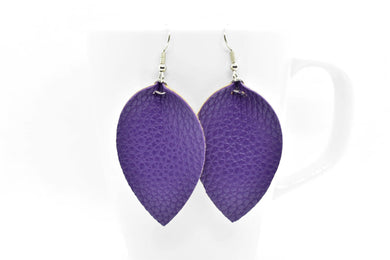 FAUX LEATHER EARRINGS - PURPLE - Handmade Creations by Liz
