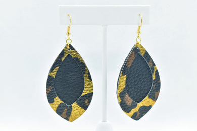 BLACK WITH GOLD LEOPARD PRINT FAUX LEATHER EARRINGS - LEAF - Handmade Creations by Liz