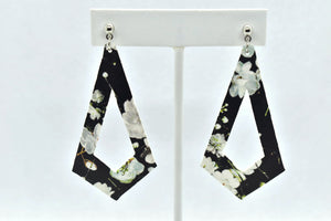 FAUX LEATHER EARRINGS - BLACK WITH WHITE FLOWERS PATTERN KITE - Handmade Creations by Liz