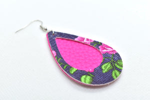 FAUX LEATHER EARRINGS - HOT PINK WITH NAVY BLUE WITH PINK FLOWER PATTERN BORDER - Handmade Creations by Liz
