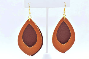 FAUX LEATHER EARRINGS - TWO TONE BROWN - Handmade Creations by Liz
