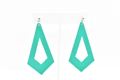 FAUX LEATHER EARRINGS - TURQUOISE KITE - Handmade Creations by Liz