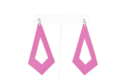 FAUX LEATHER EARRINGS - HOT PINK KITE - Handmade Creations by Liz