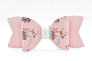 PINK FLOWER PATTERN AND WHITE GLITTER FAUX LEATHER BOW - Handmade Creations by Liz