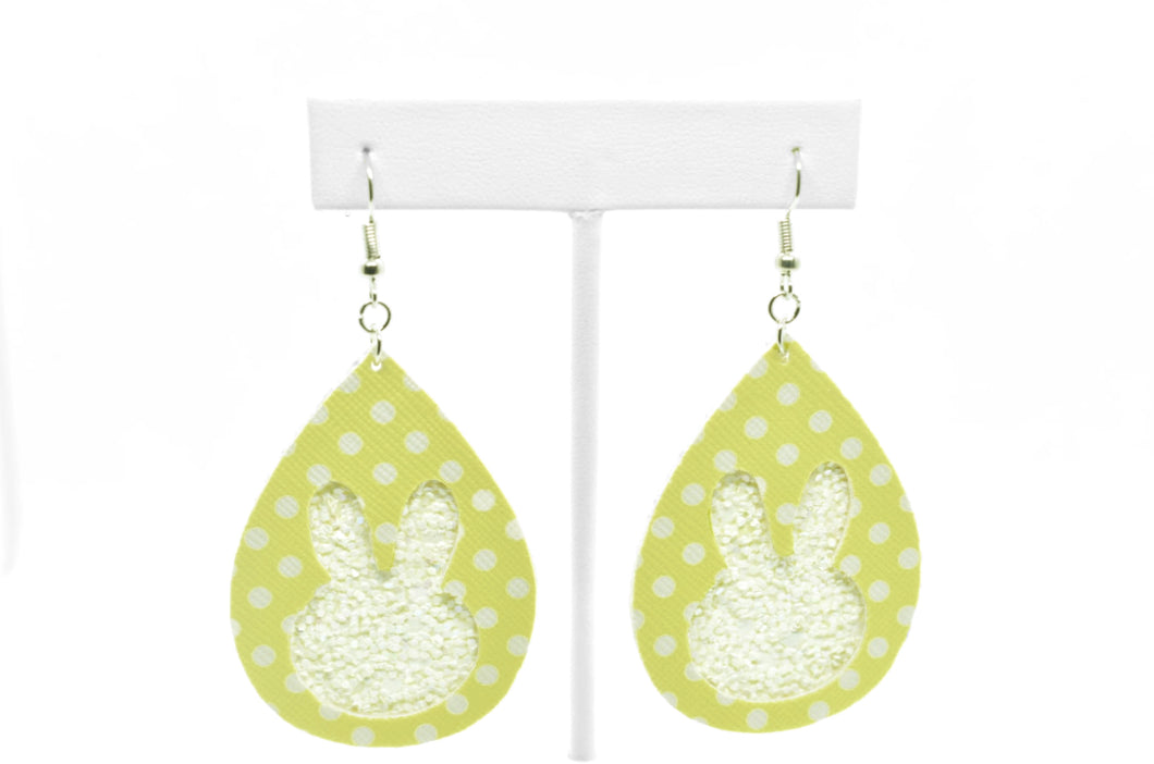 FAUX LEATHER EARRINGS - YELLOW AND WHITE GLITTER EASTER BUNNY - Handmade Creations by Liz