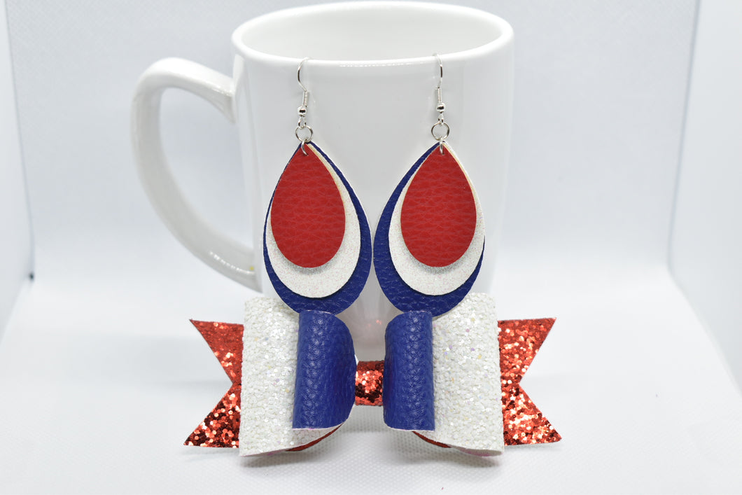 MOMMY AND ME, FAUX LEATHER BOW AND EARRINGS SET - RED WHITE AND BLUE - Handmade Creations by Liz