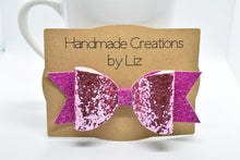 Load image into Gallery viewer, BLUE/PURPLE GLITTER FAUX LEATHER BOW - Handmade Creations by Liz