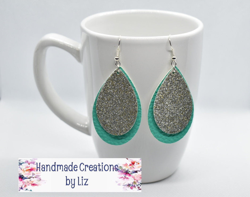 SILVER AND TURQUOISE FAUX LEATHER EARRING - TEARDROP - Handmade Creations by Liz
