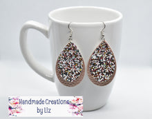 Load image into Gallery viewer, WHITE WITH ROSE GOLD GLITTER AND ROSE GOLD FAUX LEATHER EARRING - TEARDROP - Handmade Creations by Liz