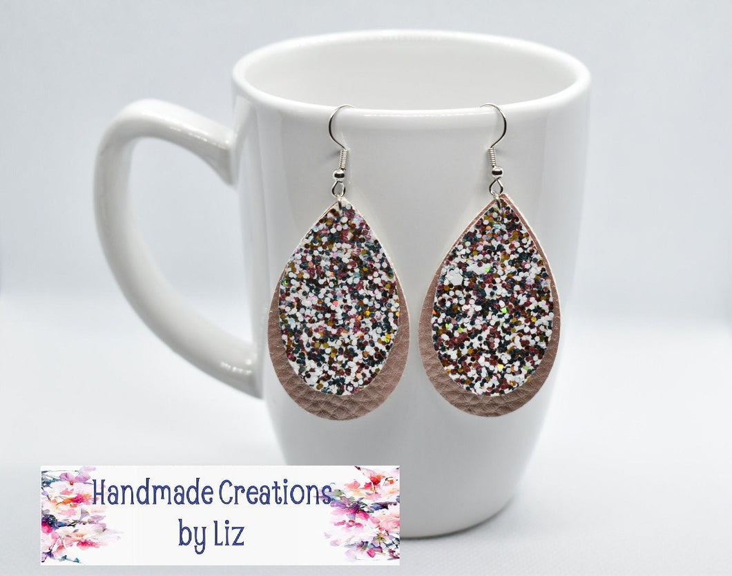WHITE WITH ROSE GOLD GLITTER AND ROSE GOLD FAUX LEATHER EARRING - TEARDROP - Handmade Creations by Liz