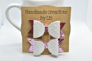 HOT PINK AND WHITE POLKA DOTS FAUX LEATHER BOW - Handmade Creations by Liz