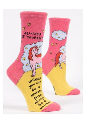 ALWAYS BE YOURSELF UNLESS YOU CAN BE A UNICORN W-CREW SOCKS by Blue Q