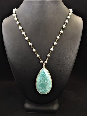 Aquamarine Drop with Grey Quartz Chain