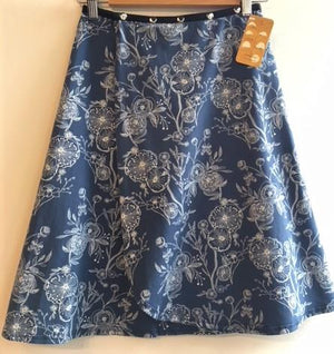 Long Blue skirt with Green Flowers Snap Around Skirt