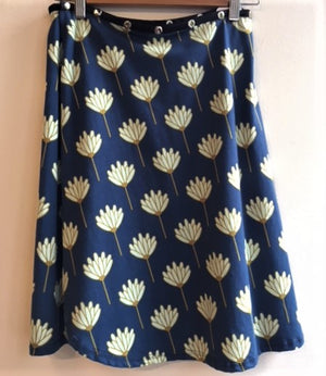 Blue skirt with Green Flowers Snap Around Skirt