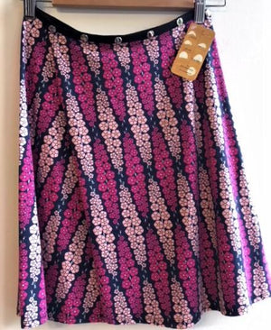 Pink and Purple Flowers Snap Around Skirt