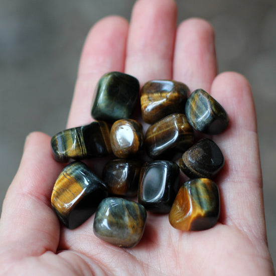12 Tigers Eye Tumbled Stones