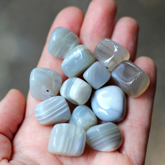 12 Banded Agate Tumbled Stones