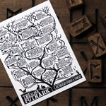 The Elder Futhark Rune Reference Tree Art Card by Stone & Violet