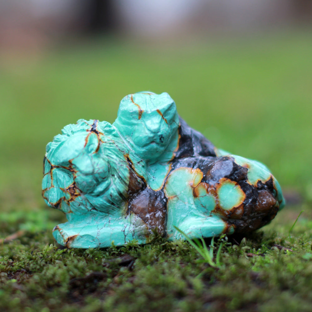 Authentic Turquoise Lion and Lioness Carving - 229gms
