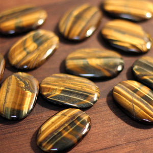 Tigers Eye Large Palm Stone - Extra Quality
