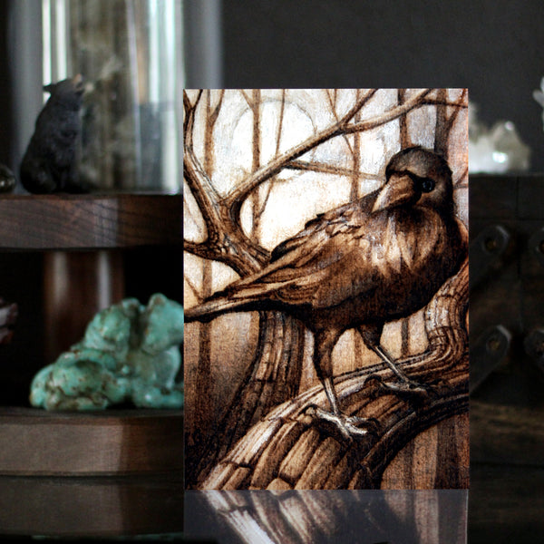 Raven Art Nevermore Wood Burning Pyrography Art print by Lauren Gray
