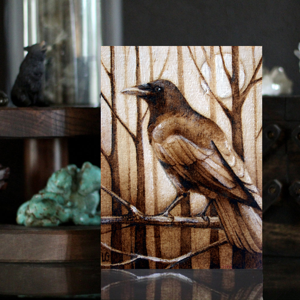 Crow Art Pyrography Woodburning art print by Lauren Gray TheHauntedHollowTree