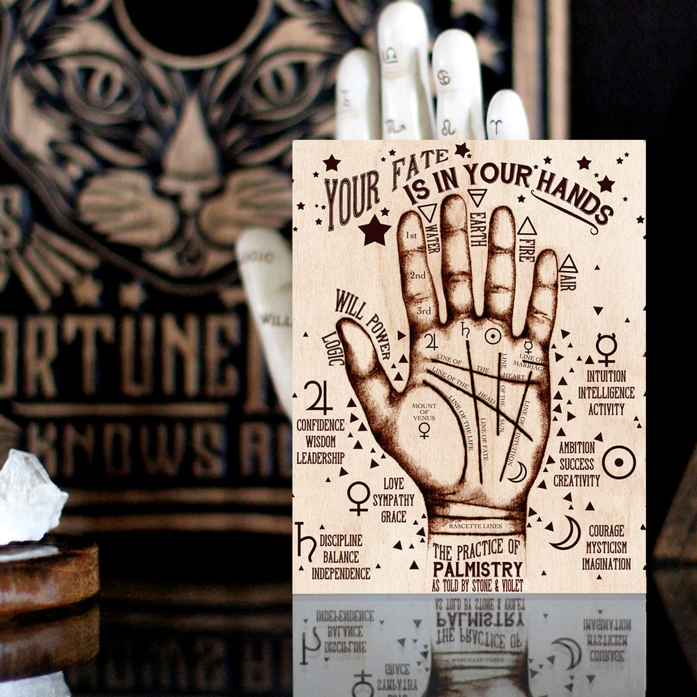 Palmistry Art Print. The Practice of Palmistry palm reading guide postcard print.