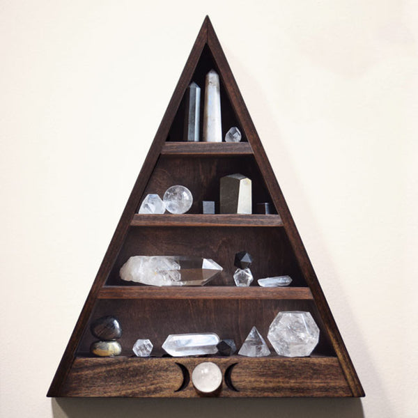 "Triple Moon Shelf with Crystal Sphere Detailing - 14.5"" tall"