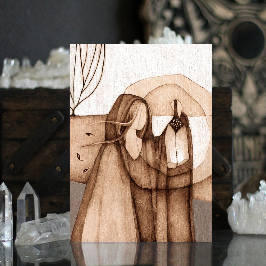 Pyrography Art Seeking the Night by Lauren Gray. Figurative woman with lantern art print.