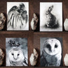Set of 4 Animal Postcard Prints of Original Art. Raven, Owl, Rabbit by artist Lauren Gray.