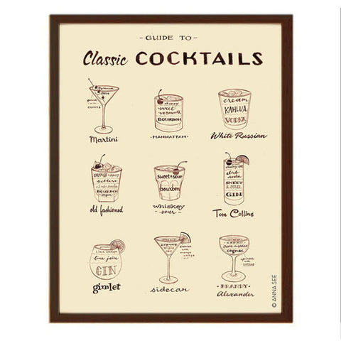 GUIDE TO CLASSIC COCKTAILS ART PRINT (IVORY) BY ANNA SEE