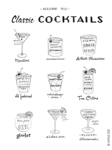 GUIDE TO CLASSIC COCKTAILS ART PRINT (WHITE) BY ANNA SEE