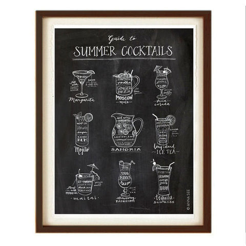 GUIDE TO SUMMER COCKTAILS ART PRINT (BLACK) BY ANNA SEE