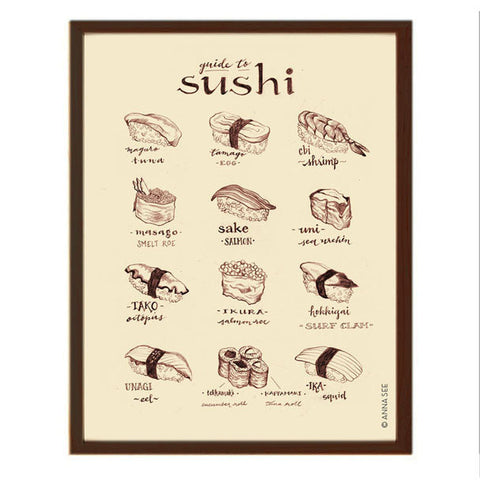 GUIDE TO SUSHI ART PRINT (IVORY) BY ANNA SEE