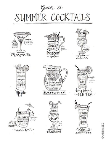 GUIDE TO SUMMER COCKTAILS ART PRINT (WHITE) BY ANNA SEE