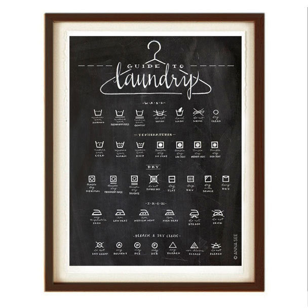 GUIDE TO LAUNDRY CARE ART PRINT (BLACK) BY ANNA SEE