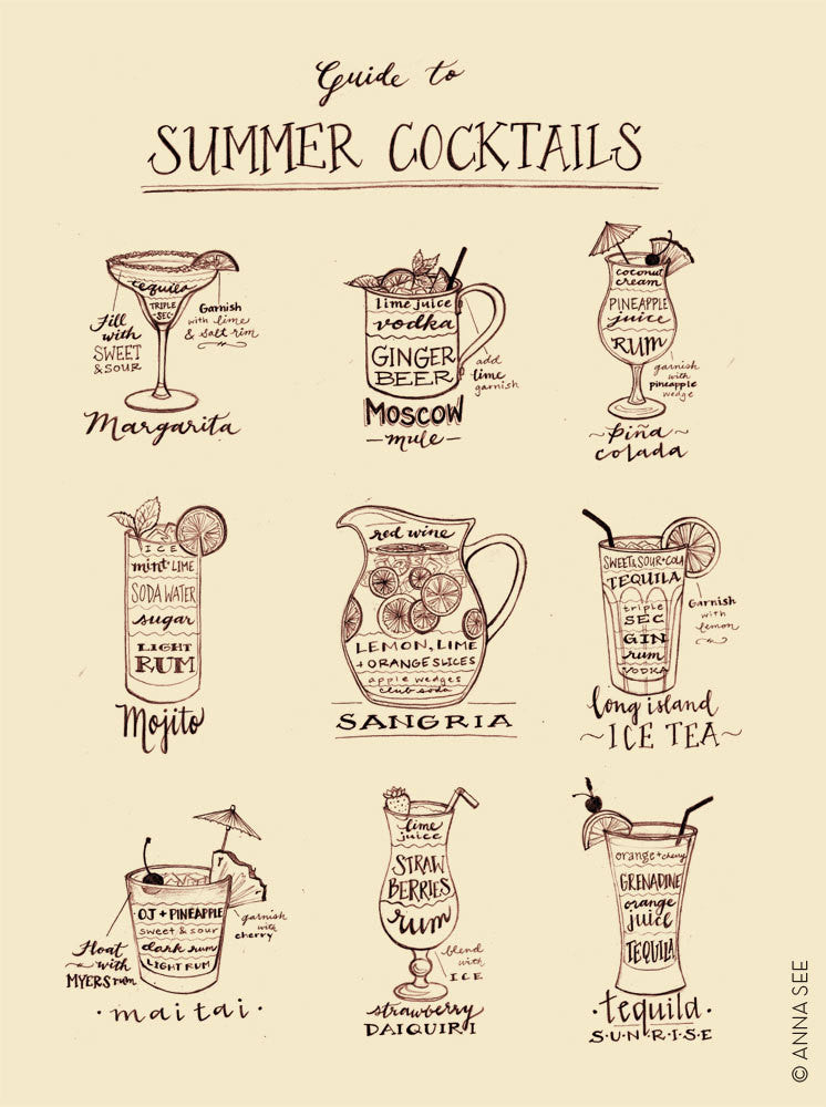 GUIDE TO SUMMER COCKTAILS ART PRINT (IVORY) BY ANNA SEE