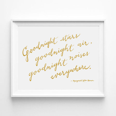 """GOODNIGHT STARS, GOODNIGHT AIR, GOODNIGHT NOISES EVERYWHERE"" - GOODNIGHT MOON CALLIGRAPHY ART PRINT BY ANNA SEE"